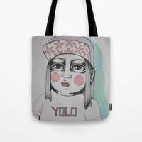 yolo Tote Bags featuring Yolo  by Agnes Emilia