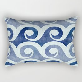 Retro Tropical Beach Waves - Indigo Blue Woodblock Rectangular Pillow