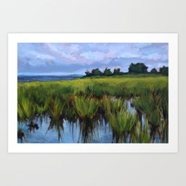 Katie Wall Art Painting of the Salt Marsh at Fort Fisher, North Carolina Art Print
