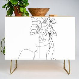 Minimal Line Art Woman with Flowers Credenza
