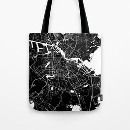 Amsterdam Black on White Street Map Tote Bag