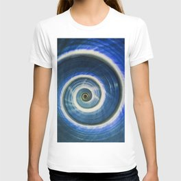 Blue and white spiral shell T-shirt