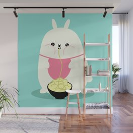 Fat bunny eating noodles Wall Mural