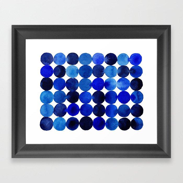 Blue Circles in Watercolor Gerahmter Kunstdruck