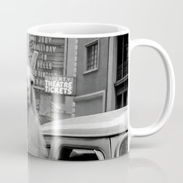 Llama Riding in Taxi, Black and White Vintage Print Coffee Mug