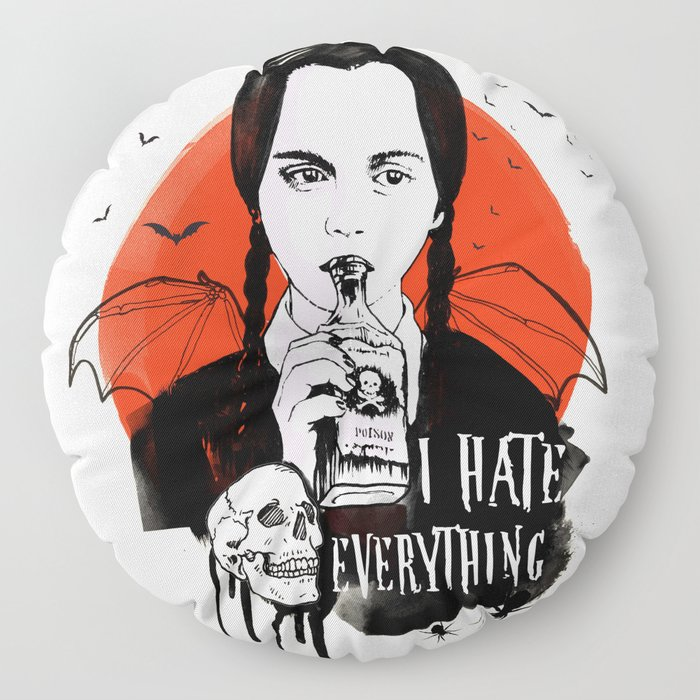 Wednesday The Addams family art Floor Pillow