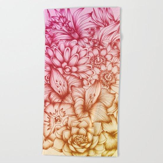 Tropical Flowers II Beach Towel