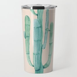 Solo Cactus Mint on Coral Pink Travel Mug