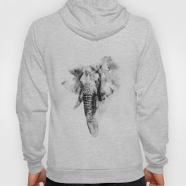 Black n White Painted elephant Hoody
