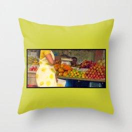 Torso at Fruit Stand, Chennai Throw Pillow