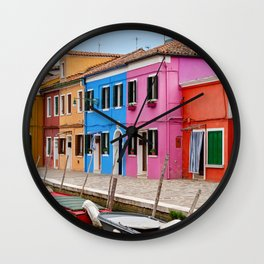 Colors of Burano Italy #5 Wall Clock