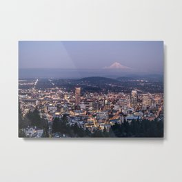 Portland Evening Urban Cityscape With Mt Hood Metal Print
