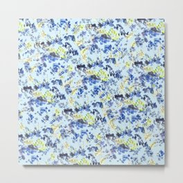 Doodle blue flowers pattern, Light Blue background Metal Print