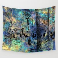 city Wall Tapestries featuring CITY by sametsevincer
