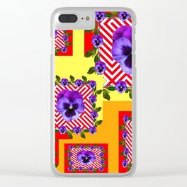 RED & PURPLE PANSIES YELLOW-ORANGE ABSTRACT Clear iPhone Case