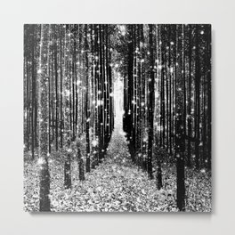 Magical Forest Black White Gray Metal Print