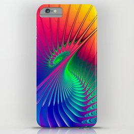Outburst Spiral Fractal neon colored iPhone Case
