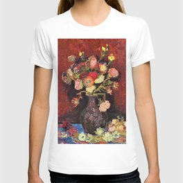 12,000pixel-500dpi - Vincent van Gogh - Vase With Chinese Asters And Gladioli - Digital Remaster T-shirt