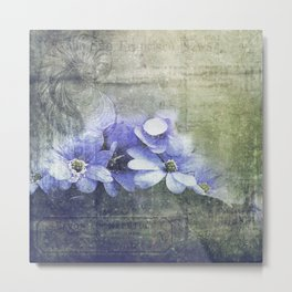 Vintage Floral Decorative Worn Metal Print