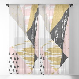 Abstract GBP Sheer Curtain