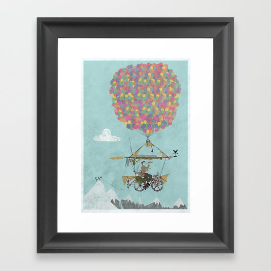 Riding A Bicycle Through The Mountains Framed Art Print