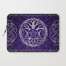 Triple Goddess with pentagram and tree of life Laptop Sleeve