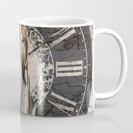 Roman-Inspired Fashion, Map, Time and Architectural Design Coffee Mug