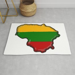 Lithuania Map with Lithuanian Flag Rug