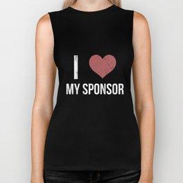 I Heart My Sponsor - AA 12 Step Recovery Slogan Tshirt Biker Tank
