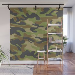 Green Military Camouflage Pattern Wall Mural