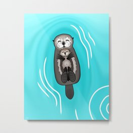 Mother and Pup Sea Otters - Mom Holding Baby Otter Metal Print