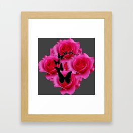 BLACK BUTTERFLIES FUCHSIA ROSES GREY ART Framed Art Print