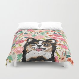 Chihuahua florals flowers spring blooming garden pet portraits dog breed custom gifts for dog person Duvet Cover