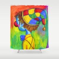 clown Shower Curtains featuring Clown by Dion Dior