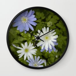 Purple and White Flowers Wall Clock