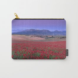 Big Fields Of Poppies. At Purple Sunset. Sierra Arana And Sierra Nevada Carry-All Pouch