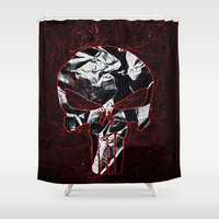punisher Shower Curtains featuring Punisher 1 by Beastie Toyz