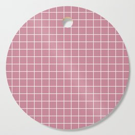 Puce - violet color - White Lines Grid Pattern Cutting Board