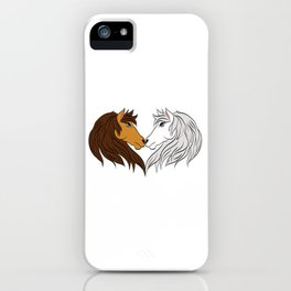 Simple Horsing Tee For Horse Lovers With Illustration Of 2 Horses Making Heart T-shirt Design  iPhone Case