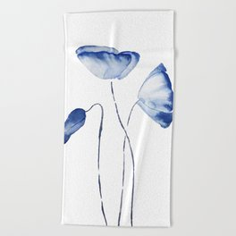 indigo poppy watercolor Beach Towel