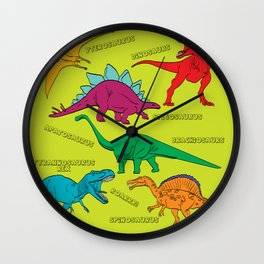 Dinosaur Print - Colors Wall Clock