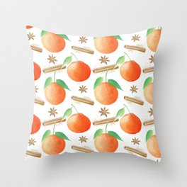 Tangerines, Cinnamon and Star Anise Watercolor Illustration and Pattern on White Throw Pillow