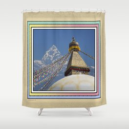 BOUDHANATH AND MACHAPUCHARE NEPAL COMPOSITE Shower Curtain
