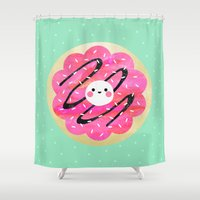 cookie Shower Curtains featuring Little Cookie / Turquoise by Elisabeth Fredriksson