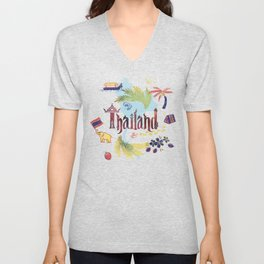 Drawings from Thailand Unisex V-Neck