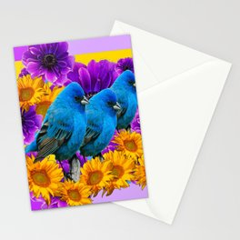 BLUE BIRDS SUNFLOWERS PURPLE FLORA ART Stationery Cards