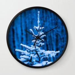 Snow covered Christmas tree Wall Clock