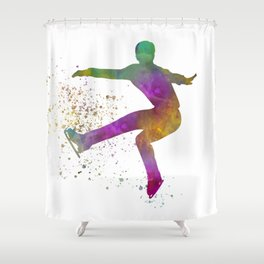 Figure skating on ice-watercolor 08 Shower Curtain