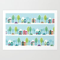ski Art Prints featuring Ski house by Polkip