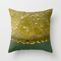 lime green Throw Pillows featuring Lime! by Caroline Benzies Photography